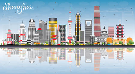 Shanghai Skyline with Color Buildings, Blue Sky and Reflections. Vector Illustration. Business Travel and Tourism Concept with Modern Architecture. Image for Presentation Banner Placard and Web Site Illustration