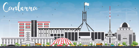Canberra Skyline with Gray Buildings and Blue Sky. Vector Illustration. Business Travel and Tourism Concept with Modern Architecture. Image for Presentation Banner Placard and Web Site.