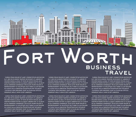 Fort Worth skyline with gray buildings, blue sky and copy space in business travel and tourism concept with modern architecture for presentation banner placard and website.