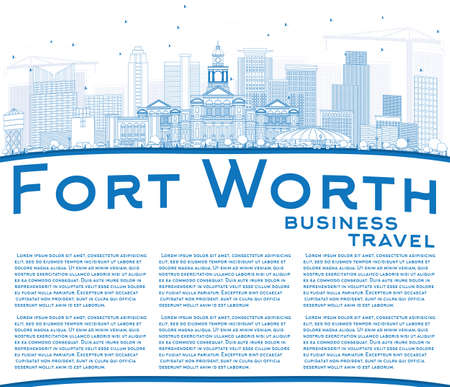 Outline Fort Worth skyline with blue buildings and copy space in business travel and tourism concept with modern architecture for presentation banner placard and web site.