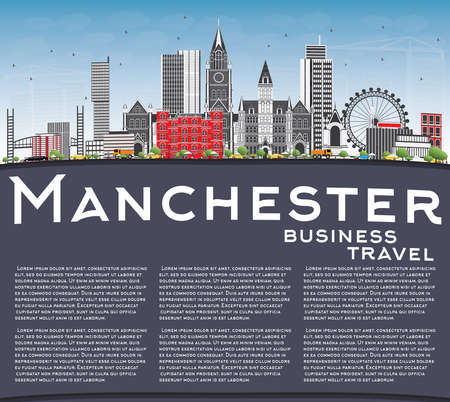 Manchester Skyline with Gray Buildings, Blue Sky and Copy Space. Vector Illustration. Business Travel and Tourism Concept with Modern Architecture. Image for Presentation Banner Placard and Web Site.