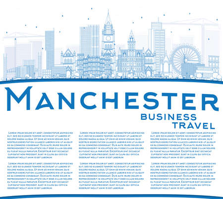 Outline Manchester Skyline with Blue Buildings and Copy Space. Vector Illustration. Business Travel and Tourism Concept with Modern Architecture. Image for Presentation Banner Placard and Web Site. Illustration