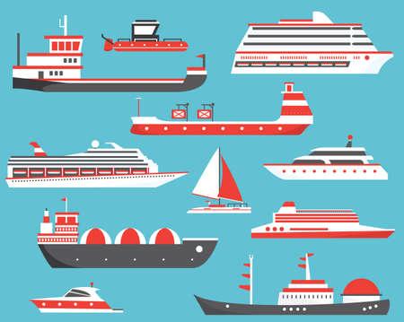 Ships Set. Oil Tanker, Yacht, Bulk Carrier, Gas Tanker and Passenger Cruise Ship. Vector Illustration. Illustration