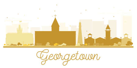 Georgetown City skyline golden silhouette. Vector illustration. Simple flat concept for tourism presentation, banner, placard or web site. Cityscape with landmarks.