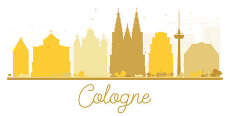 Cologne City skyline golden silhouette. Vector illustration. Simple flat concept for tourism presentation, banner, placard or web site. Cityscape with landmarks
