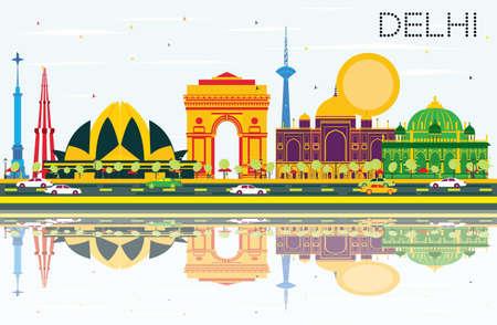 델리 인도 스카이 라인 색 건물, 푸른 하늘 및 반사. 벡터 일러스트 레이 션. 비즈니스 여행 및 역사적인 건축과 관광 개념입니다. 프레젠테이션 배너