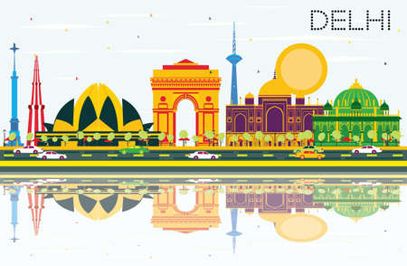 Delhi India Skyline with Color Buildings, Blue Sky and Reflections. Vector Illustration. Business Travel and Tourism Concept with Historic Architecture. Image for Presentation Banner Placard and Web Site.