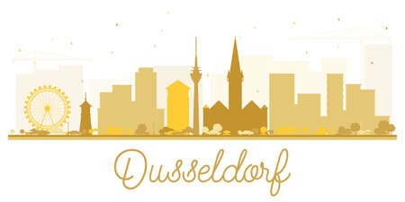 Dusseldorf City skyline golden silhouette. Vector illustration. Simple flat concept for tourism presentation, banner, placard or web site. Cityscape with landmarks