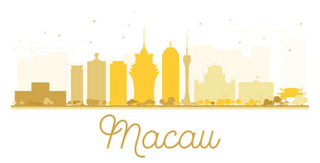 macau: Macau City skyline golden silhouette. Vector illustration. Simple flat concept for tourism presentation, banner, placard or web site. Cityscape with landmarks