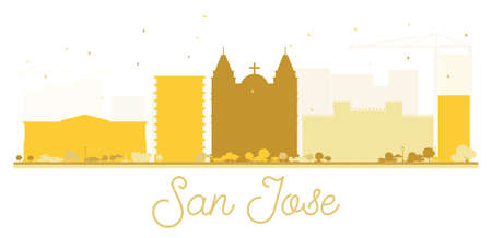 San Jose City skyline golden silhouette. Vector illustration. Simple flat concept for tourism presentation, banner, placard or web site. Cityscape with landmarks