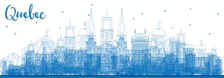 Outline Quebec Skyline with Blue Buildings. Vector Illustration. Business Travel and Tourism Concept with Historic Architecture. Image for Presentation Banner Placard and Web Site. Illustration
