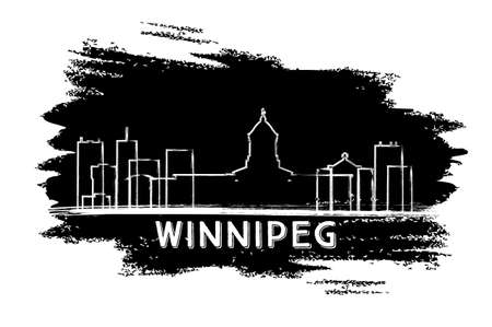 Winnipeg Canada Skyline Silhouette. Hand Drawn Sketch. Vector Illustration. Business Travel and Tourism Concept with Modern Architecture. Image for Presentation Banner Placard and Web Site.