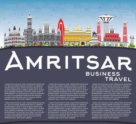 Amritsar Skyline with Gray Buildings, Blue Sky and Copy Space. Vector Illustration. Business Travel and Tourism Concept with Historic Architecture. Image for Presentation Banner Placard and Web Site. Illustration