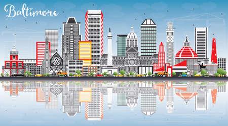 Baltimore-Skyline mit grauen Gebäuden, blauem Himmel und Reflexionen. Vektor-Illustration. Geschäftsreise- und Tourismuskonzept mit moderner Architektur. Bild für Presentation Banner Placard und Website. Standard-Bild - 82561849