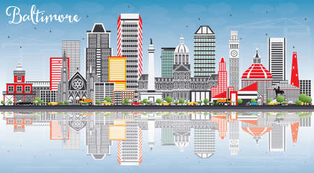 Baltimore Skyline with Gray Buildings, Blue Sky and Reflections. Vector Illustration. Business Travel and Tourism Concept with Modern Architecture. Image for Presentation Banner Placard and Web Site.