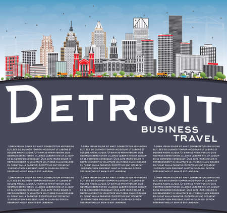 detroit: Detroit Skyline with Gray Buildings, Blue Sky and Copy Space. Vector Illustration. Business Travel and Tourism Concept with Modern Architecture. Image for Presentation Banner Placard and Web Site. Illustration