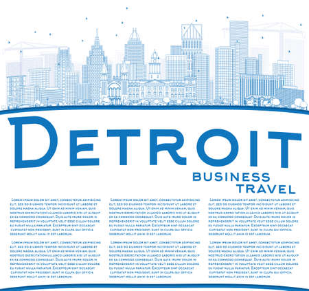 detroit: Outline Detroit Skyline with Blue Buildings and Copy Space. Vector Illustration. Business Travel and Tourism Concept with Modern Architecture. Image for Presentation Banner Placard and Web Site.