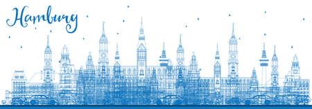 Outline Hamburg Skyline avec Bâtiments bleus. Vector Illustration. Voyage d'affaires et du tourisme Concept avec l'architecture historique. Photo pour Présentation Bannière Pancarte et du site Web.