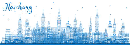 Outline Hamburg Skyline with Blue Buildings. Vector Illustration. Business Travel and Tourism Concept with Historic Architecture. Image for Presentation Banner Placard and Web Site.