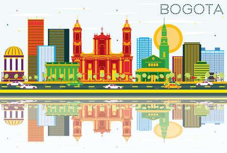 보고타 콜롬비아 스카이 라인 색 건물, 푸른 하늘 및 반사. 벡터 일러스트 레이 션. 비즈니스 여행 및 역사적인 건물 관광 개념입니다.