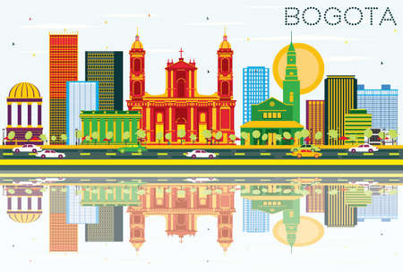 Bogota Colombia Skyline with Color Buildings, Blue Sky and Reflections. Vector Illustration. Business Travel and Tourism Concept with Historic Buildings. Vettoriali