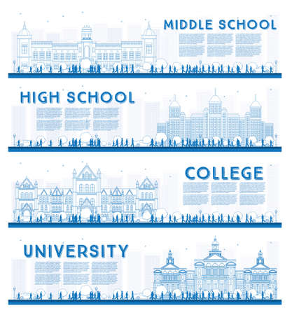 middle: Outline Set of University, High School and College Study Banners. Vector Illustration. Students Go to the Main Building of University. Banner with Copy Space.
