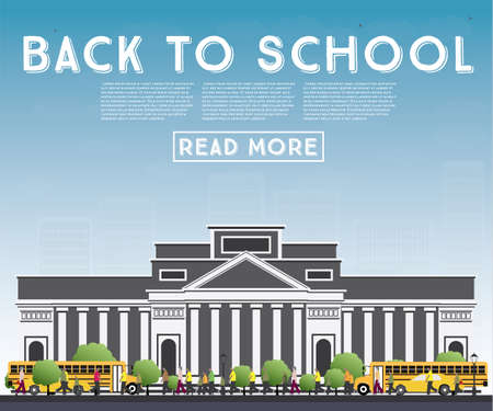 middle: Back to School banner with school bus, building and students vector Illustration. Illustration