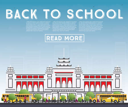 Back to School banner with school bus, building and students vector Illustration. Illustration