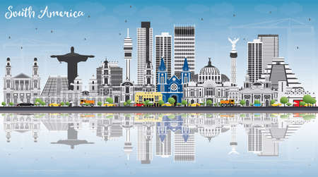 South America Skyline with Famous Landmarks and Reflections vector illustration, business travel and tourism concept.