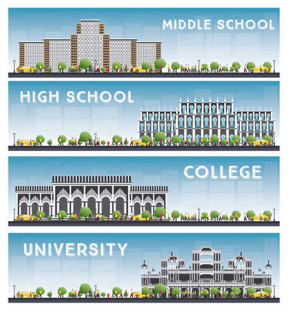 middle: Set of University, High School and College Study Banners. Vector Illustration. Students Go to the Main Building of University. Skyline with Blue Sky and Green Tree. Banner with Copy Space.