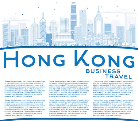 Outline Hong Kong Skyline with Blue Buildings and Copy Space. Vector Illustration. Business Travel and Tourism Concept with Modern Architecture. Image for Presentation Banner Placard and Web Site.