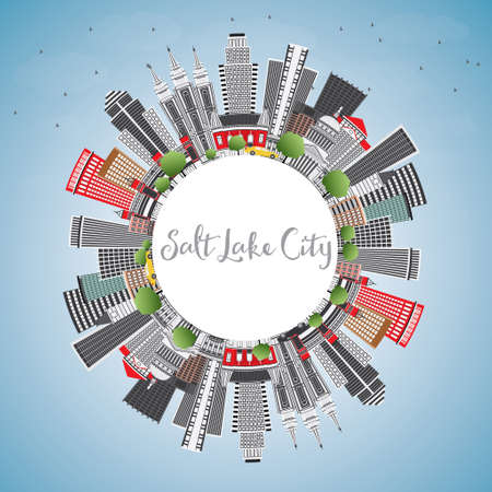 gray: Salt Lake City Skyline with Gray Buildings, Blue Sky and Copy Space. Vector Illustration. Business Travel and Tourism Concept with Historic Architecture. Image for Presentation Banner Placard and Web.