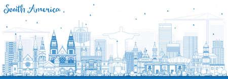 Overzicht Zuid-Amerika Skyline met beroemde bezienswaardigheden. Vector illustratie. Bedrijfsreis en toerisme concept. Afbeelding voor presentatie, banner, plakkaat en website.