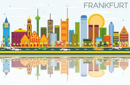 色の建物、青空の反射とフランクフルトのスカイライン。ベクトルの図。ビジネス旅行と観光概念と近代建築。プレゼンテーション バナー プラカー  イラスト・ベクター素材