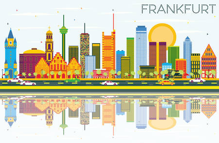 Frankfurt Skyline with Color Buildings, Blue Sky and Reflections. Vector Illustration. Business Travel and Tourism Concept with Modern Buildings. Image for Presentation Banner Placard and Web Site.