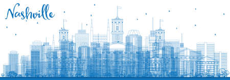 Outline Nashville Skyline with Blue Buildings. Vector Illustration. Business Travel and Tourism Concept with Modern Architecture. Image for Presentation Banner Placard and Web Site. Illustration