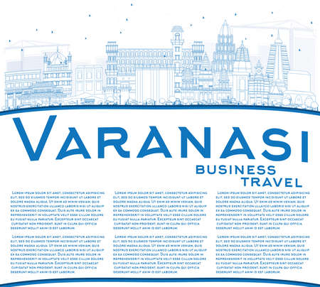 Outline Varanasi Skyline with Blue Buildings and Copy Space. Vector Illustration. Business Travel and Tourism Concept with Historic Architecture. Image for Presentation Banner Placard and Web Site.