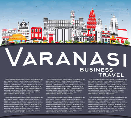Varanasi Skyline with Color Buildings, Blue Sky and Copy Space. Vector Illustration. Business Travel and Tourism Concept with Historic Architecture. Image for Presentation Banner Placard and Web Site. Illustration