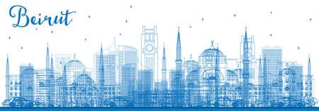 Esquema Beirut Skyline con edificios azules. Ilustración vectorial. Viajes de Negocios y Concepto de Turismo con Arquitectura Moderna. Imagen para el cartel y el Web site de la bandera de la presentación.