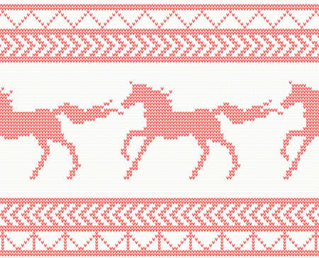 Knitted Horse Seamless Pattern in Red Color. Vector Illustration. Illustration