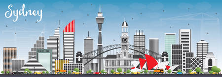 sydney skyline: Sydney Australia Skyline with Gray Buildings and Blue Sky. Vector Illustration. Business Travel and Tourism Concept with Modern Architecture. Image for Presentation Banner Placard and Web Site. Illustration