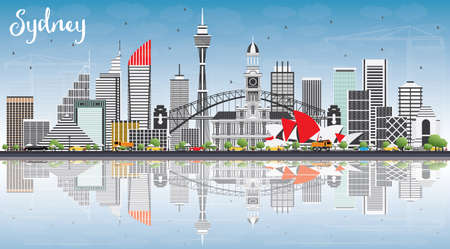 sydney skyline: Sydney Australia Skyline with Gray Buildings, Blue Sky and Reflections. Vector Illustration. Business Travel and Tourism Concept with Modern Architecture. Image for Presentation Banner Placard and Web Site. Illustration