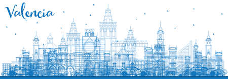 Outline Valencia Skyline with Blue Buildings. Vector Illustration. Business Travel and Tourism Concept with Historic Architecture. Image for Presentation Banner Placard and Web Site. Иллюстрация