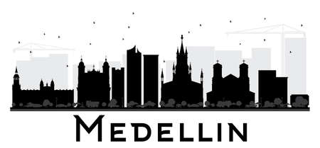 Medellin City skyline black and white silhouette. Vector illustration. Simple flat concept for tourism presentation, banner, placard or web site. Business travel concept. Cityscape with landmarks.