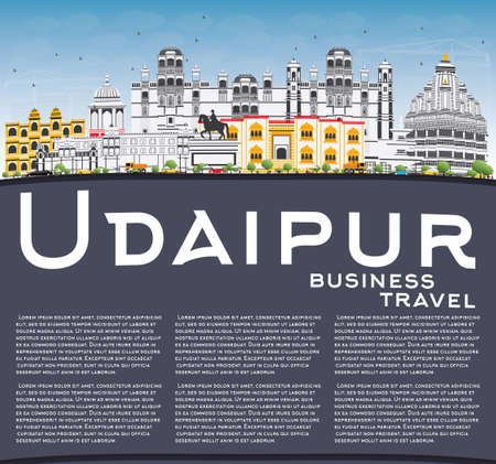 Udaipur Skyline with Color Buildings, Blue Sky and Copy Space. Vector Illustration. Business Travel and Tourism Concept with Historic Architecture. Image for Presentation Banner Placard and Web Site.