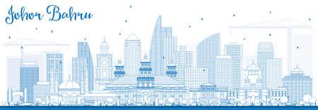 조 호르 Bahru 블루 건물와 말레이시아 스카이 라인 개요. 벡터 일러스트 레이 션. 비즈니스 여행 및 현대 건축과 관광 개념입니다. 프레젠테이션 배너