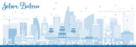Outline Johor Bahru Malaysia Skyline with Blue Buildings. Vector Illustration. Business Travel and Tourism Concept with Modern Architecture. Image for Presentation Banner Placard and Web Site. Illustration