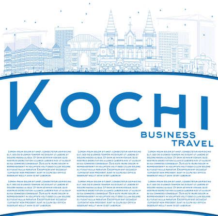 Outline Kochi Skyline with Blue Buildings and Copy Space. Vector Illustration. Business Travel and Tourism Concept with Historic Architecture. Image for Presentation Banner Placard and Web Site. Illustration