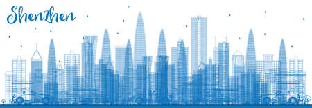 Outline Shenzhen Skyline with Blue Buildings. Vector Illustration. Business Travel and Tourism Concept with Modern Architecture. Image for Presentation Banner Placard and Web Site.