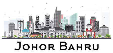Johor Bahru Malaysia Skyline with Gray Buildings Isolated on White Background. Vector Illustration. Business Travel and Tourism Illustration with Modern Architecture. Image for Presentation Banner Placard and Web Site.
